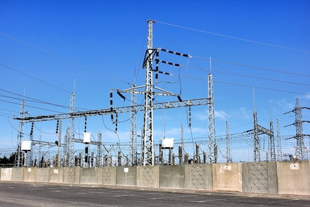 Electrical power transformer in high voltage substation  Stock Photo
