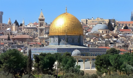 view of the golden Dome of the Rock of Al Aqsa Mosque from the Mount of Olives Jerusalem, Israel Stock Photo - 12768126
