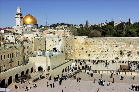 view of the wailing western wall and the area in front of her