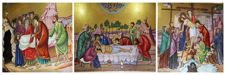 triptych: triptych of mosaics in the Church of the Holy Sepulcher, the withdrawal from the cross of Jesus Christ Editorial