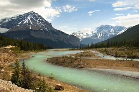 the river flowing at the foot of the Canadian Rockies