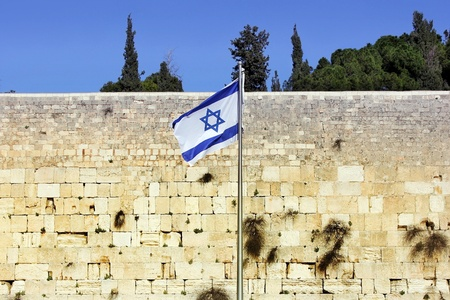 Israeli flag at the Western Wall, Jerusalem , Israel