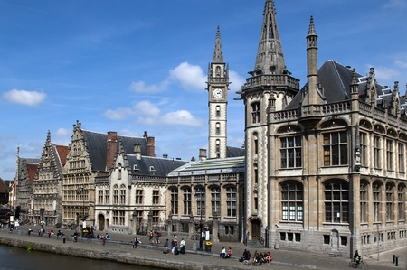 Ghent Graslei on the waterfront in Belgium Stock Photo - 12793574