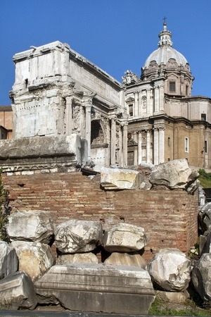 the ruins of Rome, the Forum Romano, Italia photo