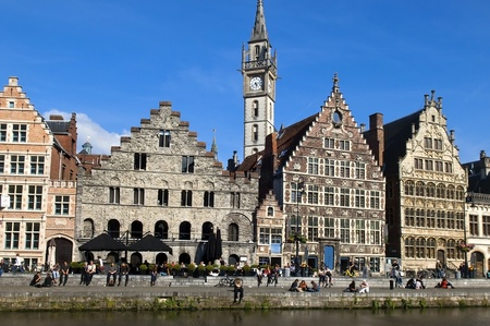 Ghent Graslei  in Belgium,view from the waterfront Stock Photo - 12926082