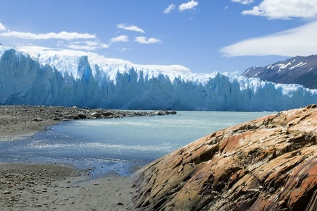 beautiful Glacier Perito Moreno in Argentina,view from the glacial lake photo