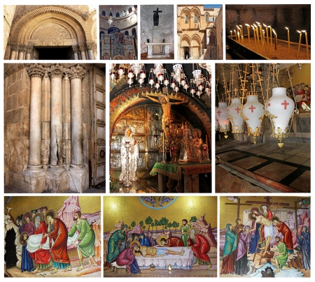 sepulchre: collage of Church of the Holy Sepulcher, Jerusalem, Israel