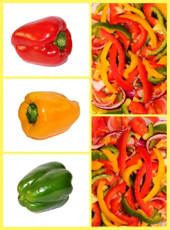 dietary collage of multicolored sweet peppers Stock Photo - 12931153