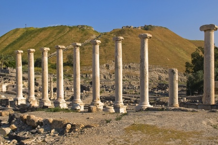 archaeological excavations in Israel,Roman columns in park  Beit Shean Stock Photo