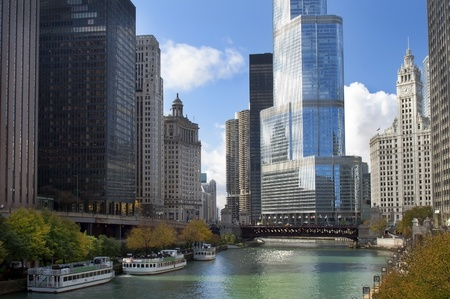 beautiful modern Chicago ,view from the waterfront to the skyscrapers