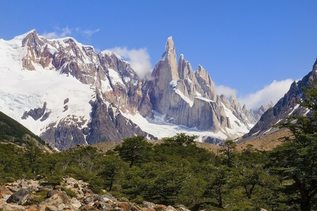 view to the top of Fitz Roy, Argentina