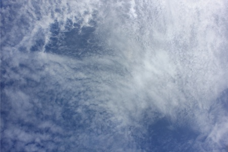 White and gray clouds in blue sky Stock Photo