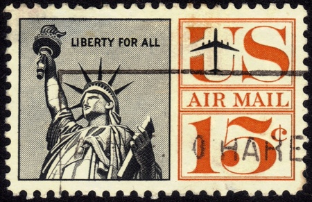 UNITED STATES - CIRCA 1960 s   A airmail  stamp printed in United States  Old American airmail stamp showing  the Statue of Liberty ,series, circa 1960