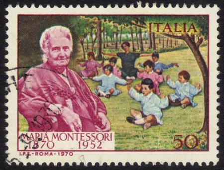 ITALY - CIRCA 1970  a stamp printed in the Italy shows Dr  Maria Montessori and Children, Educator and Physician, circa 1970 Editorial