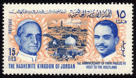 institute is holy: JORDAN-CIRCA 1965 A stamp printed in Jordan shows image of Al-Aqsa Mosque, the Old City of Jerusalem, Pope Paulus VI and king Hussein,inscription - 1st  anniversary of Pope Paulus VI visit to the Holy Land  circa 1965
