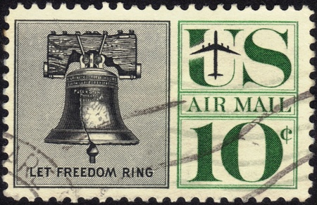 UNITED STATES - CIRCA 1959 s   A airmail  stamp printed in United States  Old  stamp showing  the image of liberty Bell, in-scripted   Let Freedom Ring , face value 10c ,series, circa 1959 Stock Photo - 13190013