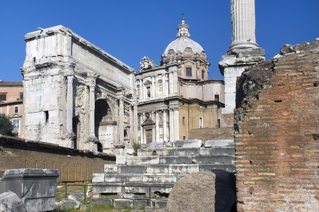 the ancient ruins of Rome, the Forum Romano, Italia Stock Photo - 13182245