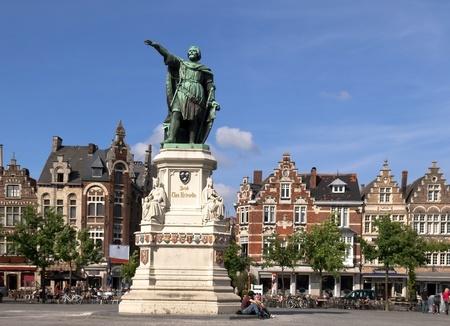 Friday s Market Square with the statue of Jacob van Artevelde in Gent, Belgium