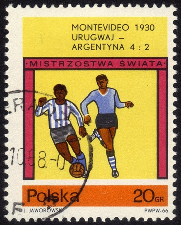 POLAND - CIRCA 1966  a stamp printed by POLAND shows football players World football cup in Montevideo 1930, series, circa 1966 Editorial