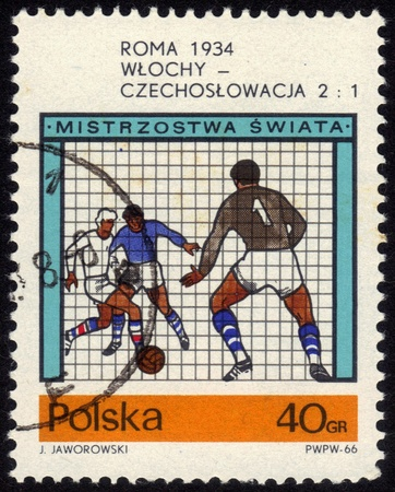 POLAND - CIRCA 1966  a stamp printed by POLAND shows football players World football cup in Rome in 1934, series, circa 1966