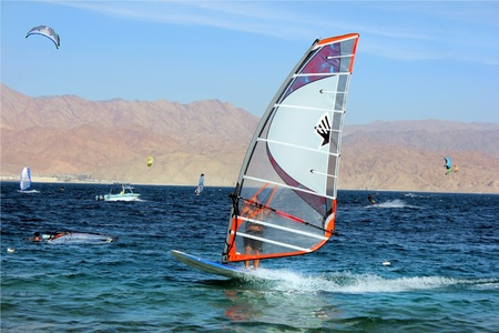 view of a windsurfer in the Red Sea, Eilat, Israel Stock Photo - 13373039