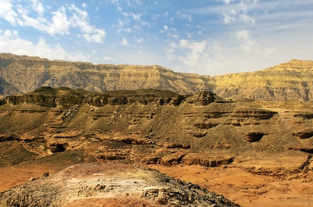 brown mountains in the Timna Valley Park, Arava Desert, Israel photo