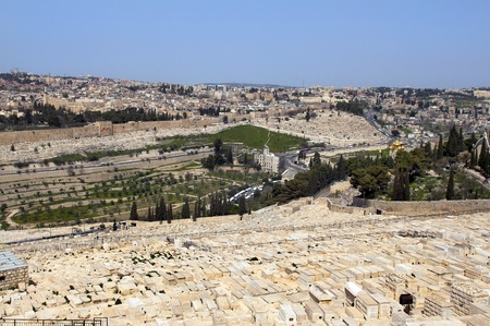 the old Jewish cemetery on the Mount of Olives Jerusalem, Israel photo