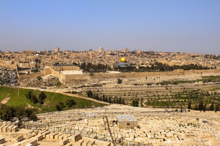 the old Jewish cemetery on the Mount of Olives Jerusalem, Israel