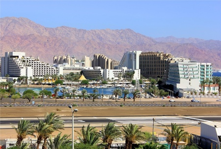 Eilat, look on the runway airfield and modern hotels
