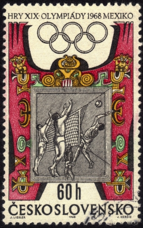 Czechoslovakia - CIRCA 1968  a stamp printed by Czechoslovakia shows volleyball players  Olympic Games in Mexico City in 1968, circa 1968 Stock Photo - 13669860