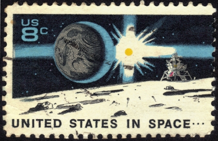 UNITED STATES OF AMERICA - CIRCA 1971  A stamp printed in USA dedicated to United States in Space, A decade of achievement, circa 1971 Stock Photo - 13669858