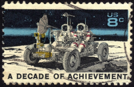 UNITED STATES OF AMERICA - CIRCA 1971  A stamp printed in USA dedicated to United States in Space, A decade of achievement, circa 1971