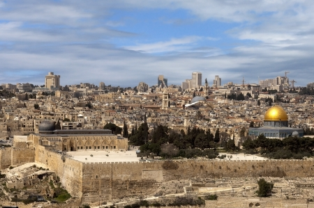 house of prayer: panoramic view of old and modern Great Jerusalem, Israel
