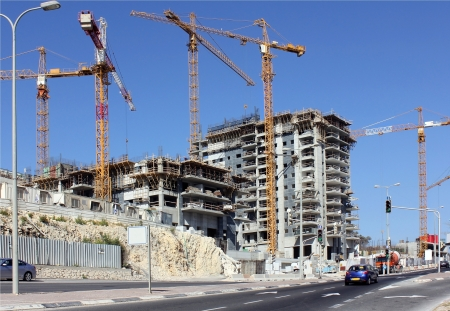 construction of a new residential area in the modern city