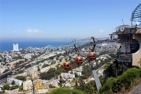 funicular railway in Haifa and the Haifa Bay view from Mount Carmel Stock Photo - 13824806