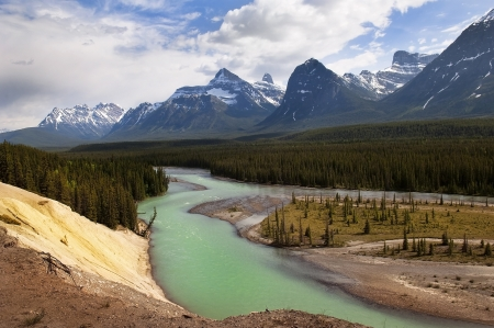 panoramic view of the river flowing at the foot of the Canadian Rockies Stock Photo - 13834048
