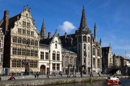 flemish: views of the waterfront of the medieval city of Ghent in Belgium Editorial