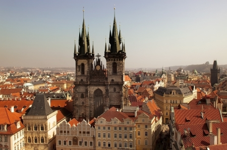 top view of the beautiful medieval Tyn Church of the Blessed Virgin of the 12th century, Prague, Czech Republic Stock Photo - 13858479