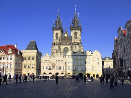 medieval beautiful Tyn Church of Our Lady, 12 century, Prague, Czech Republic Stock Photo - 13858475