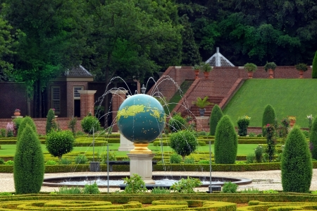 Fountains and sculptures in the palace garden, Paleis Het Loo Castle near Apeldoorn, The Netherlands Editorial