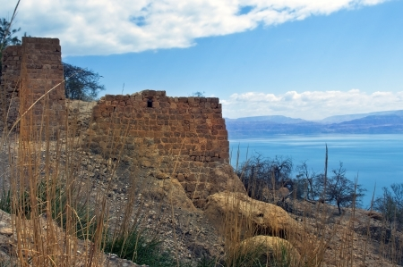 view of the Dead Sea from the ruins of fortress of Masada, Israel Stock Photo