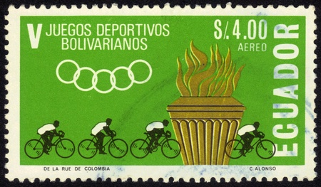 Ecuador - CIRCA 1965: A stamp printed in Ecuador, is dedicated to 5th sports games Bolivarian, depicts competition cyclists, series, circa 1965