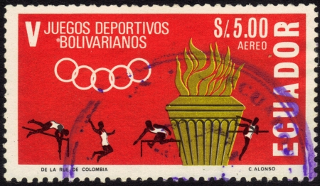 Ecuador - CIRCA 1965: A stamp printed in Ecuador, is dedicated to 5th sports games Bolivarian, depicts competition athletes, series, circa 1965 Stock Photo - 13877390