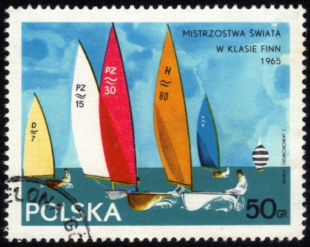 POLAND - CIRCA 1965: a stamp printed by POLAND shows the international regatta yachts class Finn in Poland, Series, circa 1965 Stock Photo - 13877389