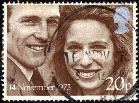 United Kingdom-CIRCA 1973  stamp printed in the United Kingdom, shows images of Princess Anne   Captain Mark Phillips,   dedicated  to Royal Wedding  ,November 14, 1973 Windsor, circa 1973
