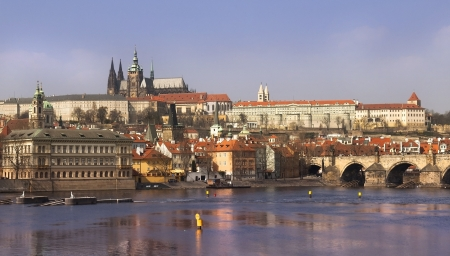 view of the magnificent Prague, Czech Republic from the Vltava River Stock Photo - 13929475