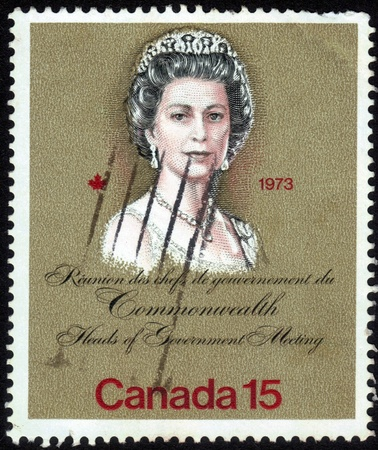 Canada-CIRCA 1973  stamp printed in Canada, shows images of Queen Elizabeth, dedicated to Royal Visits in 1973 at the meeting Heads of Government, circa 1973 Redakční