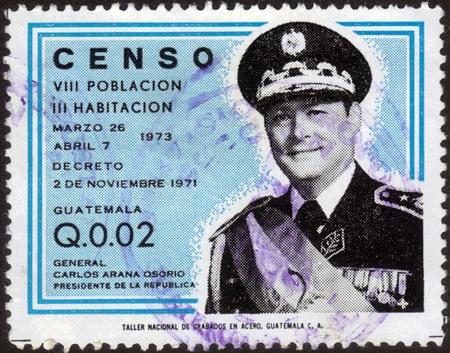 GUATEMALA - CIRCA 1973  A stamp printed in the Guatemala, shows Gen  Carlos Arana Osorio president of Guatemala, dedicated to the 8 th census of population in Guatemala, circa 1973