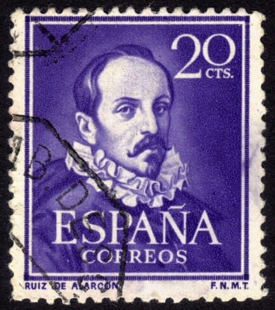 ruiz: Spain, CIRCA 1950: stamp printed in Spain , showing portrait Juan Ruiz de Alarcon y Mendoza  (1580 -  1639).  Playwright who, is considered one of the leading figures of the Spanish theater of the Golden Age, circa 1950 Stock Photo