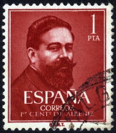 Spain, CIRCA 1951: stamp printed in Spain , showing portrait Isaac Manuel Francisco Albéniz  and Pascual (29 May 1860-18 May 1909) was a Spanish pianist and composer , circa 1951 photo